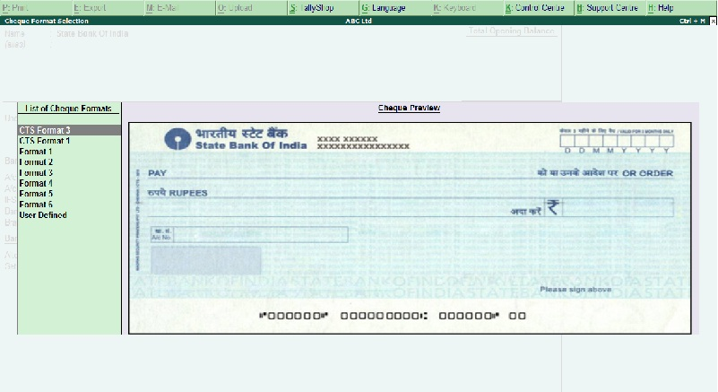 default format for cheque printing