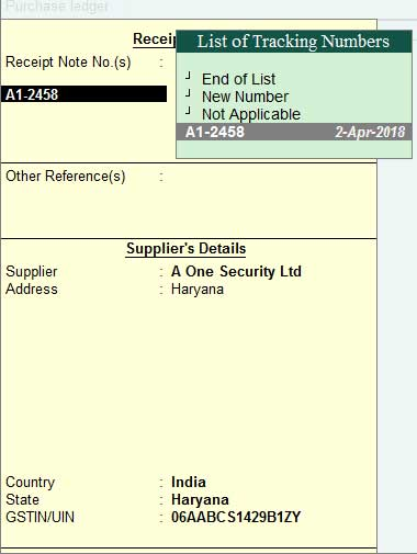 List of all tracking number in purchase invocie