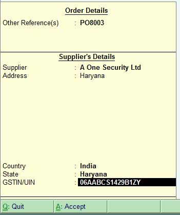 supplementary screen -order details of